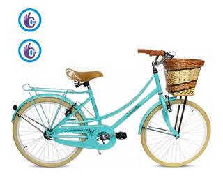 Bicicleta Rodado 24 Paseo Vintage Musetta Canasto Mimbre