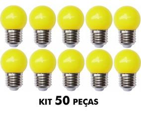 Lâmpada Bolinha Colorida 15w 110v E-27 Amarelo - 50 Un