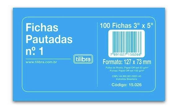 Ficha Pautada Nº1 3x5 C/100 Fichas Tilibra 2 Pacotes