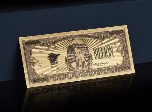 Billete Dorado Un Billón De  Dolares + Obsequio