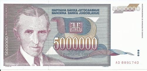 Imagen 1 de 2 de Yugoslavia 5000000 Dinares 1993