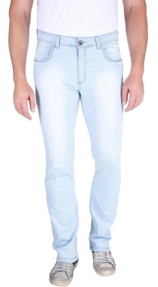 Calça Jeans Com Lavagem E Puido Azul Claro 49562 Colombo