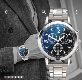 Relógio Luxo Pulseira Aço Inox Masculino À Prova D