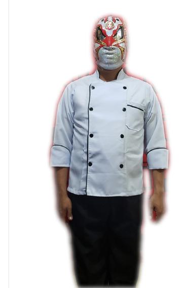 Filipina De Chef Unisex Blanca Vivos Negros, 100%poliester