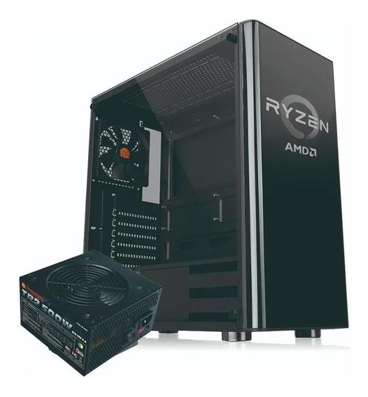 Gabinete Gamer Noganet Atx + 3 Coolers Panel Vidrio + Fuente 600w Ramos Mejia Ultimo Modelo Mid Tower Premium