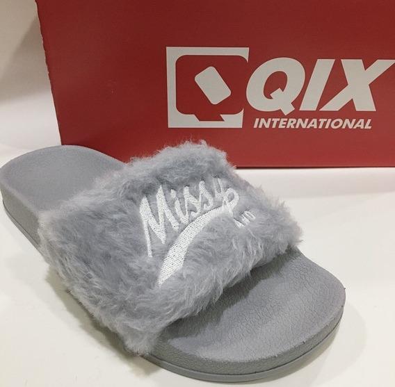 Chinelo Qix Missy Pelo Slide Fluffy Original Cinza