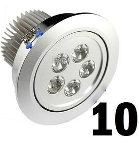 Kit 10 Spot 5w Aluminio Escovado Luz Branca Fria Embutir