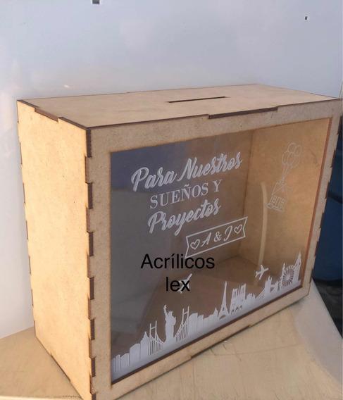 Caja Alcancía Con Mdf Y Acrílico 25x20x8 Personalizada