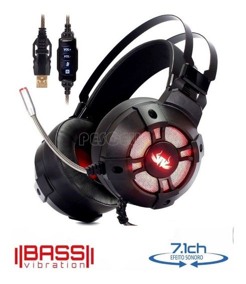 Fone Headset Gamer 7.1 Usb Pc Vibration Extreme Kp-446 C/nf