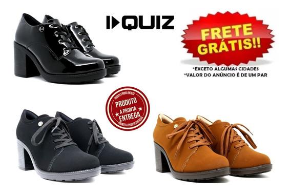 Sapato Oxford Feminino Quiz Original Verniz Nobuck Preto