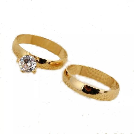 Par D Anéis Compromisso De Noivado Casamento Banhado De Ouro