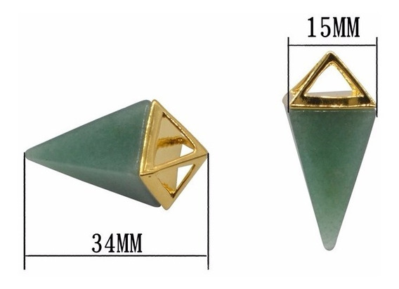 Colar Pirâmide Pedra Quartzo Verde