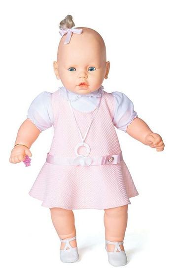 Boneca Meu Bebê Branco Vestido Rosa 60 Cm - Estrela Estrela