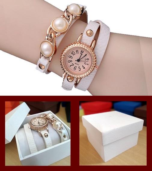 Pulseira Elegant Branca Com Relógio Quartz + Caixinha Mdf