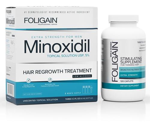 Minoxidil 5% Bajo Alcohol 3 Meses + Foligain Tabs 120 Caps