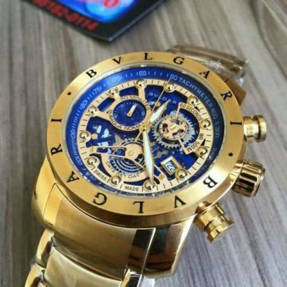 Relógio Bvlgari Dourado Em Aço Inoxidável Frete Grátis