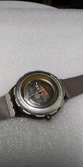 Relogio Swatch, Pulseira De Aço Mesch Mostrador Transparente