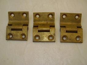 Antigo - Três Dobradiças De Bronze Para Portas Baú !!!