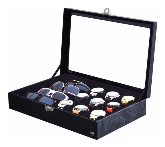 Estojo Caixa Organizadora Porta 9 Relógios E 4 Óculos Couro.
