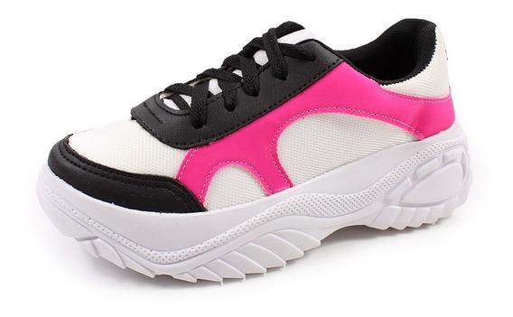 Tenis Chuncky Black Lilly Branco Preto Pink
