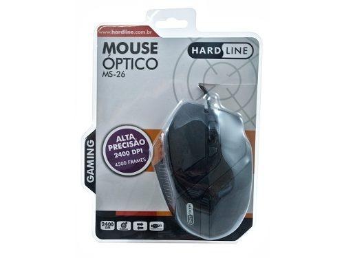 Mouse Usb 2400 Dpi Ms-26 Gamer 5 Botoes Hardline