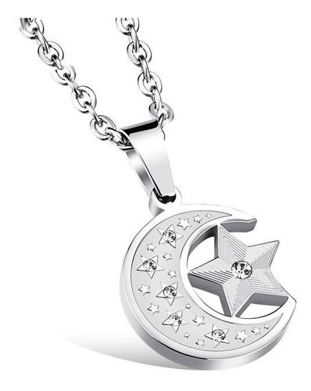 Dije De Estrella Con Luna Acero Inoxidable - 565