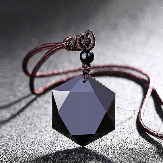 Colar Pedra Hexagonal Unissex Pingente Cordão Moda Fashion