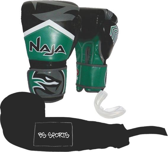 Kit Luva Naja New Extreme 12oz Verde Bandagem/bucal