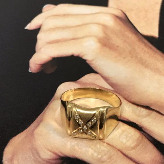 Anel Em Ouro 18k C/diamantes, Peso: 3,8 Gramas, Aro 20