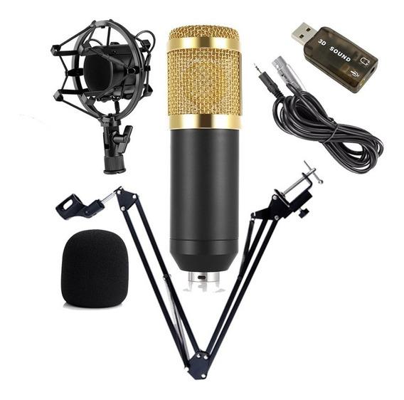 Microfone Bm800 + Braço Articulado + Brinde (placa De Áudio)