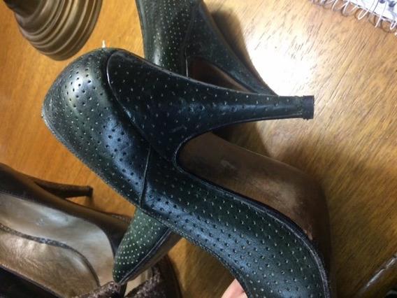 Zapatos Stiletos Verde Oscuro Cuero 100% 38