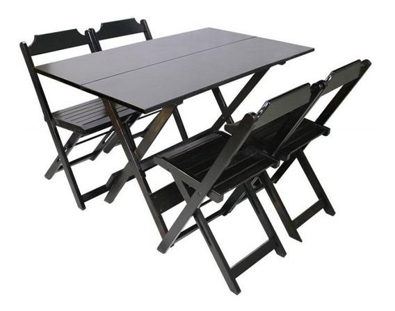 Jogo De Mesa 120x70 C/4 Cadeiras Madeira Bar Dobrável
