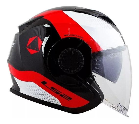 Capacete Ls2 Of570 Verso Technik Branco/vermelho/preto