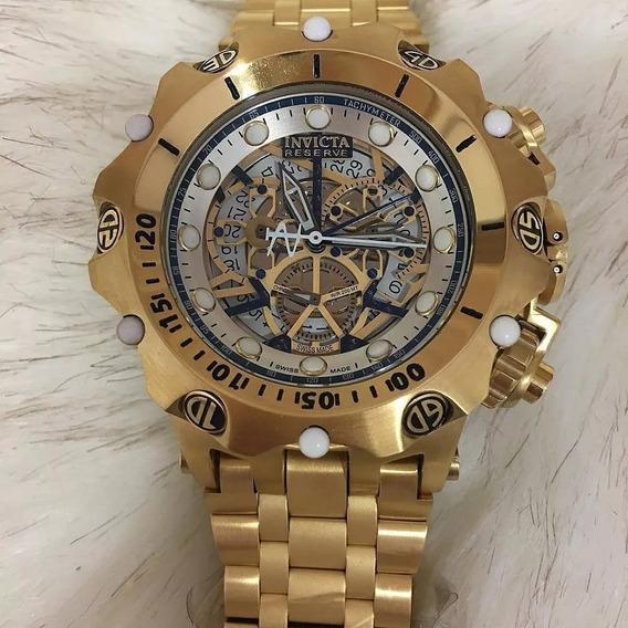 Relógio Pa085 Invicta Venon Hibrid Esqueleto Dourado + Caixa