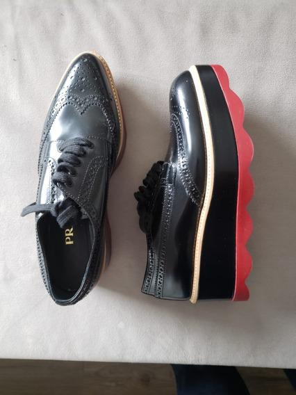 Sapato Prada Feminino Leather Flatform Oxford Preto Tam 34