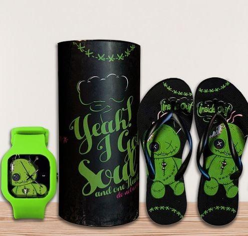 Kit Relógio+lata+chinelo + A Prova Dagua - Presente Gift