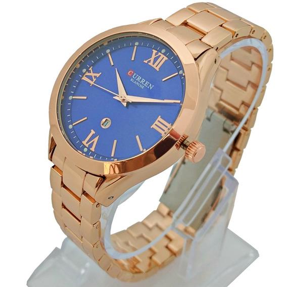 Relógio Feminino Rose Fundo Azul Com Calendário Aço Inox