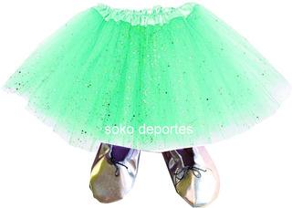 Zapatillas Media Punta + Tutu Brilloso O Comun Danza Soko