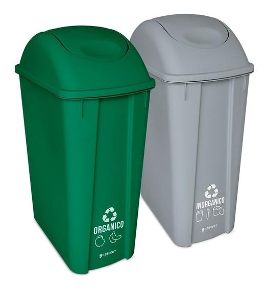Set 2 Botes De Basura Ecologicos Para Reciclaje 42lt/ 11gal