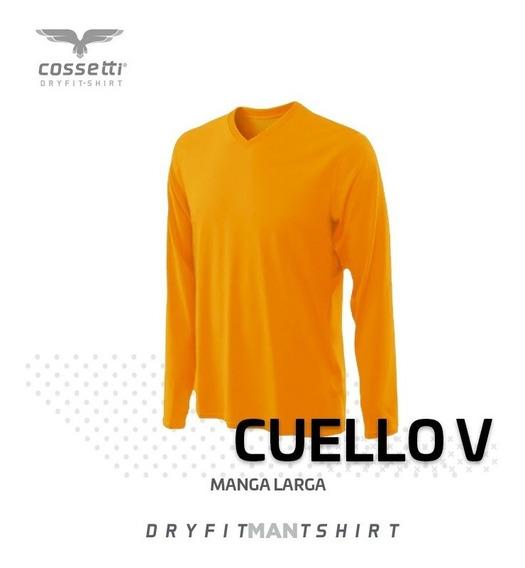 Playera Cuello V Cossetti Manga Larga Dry Fit Hombre
