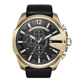 Relógio Diesel Dourado Pulseira Couro Masculino Dz4344/0pn