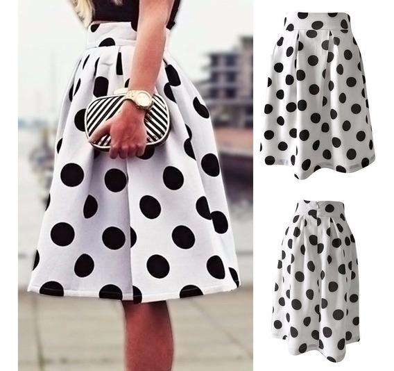 Falda Fashion Blanca Plisada Vintage Circulos Disponible