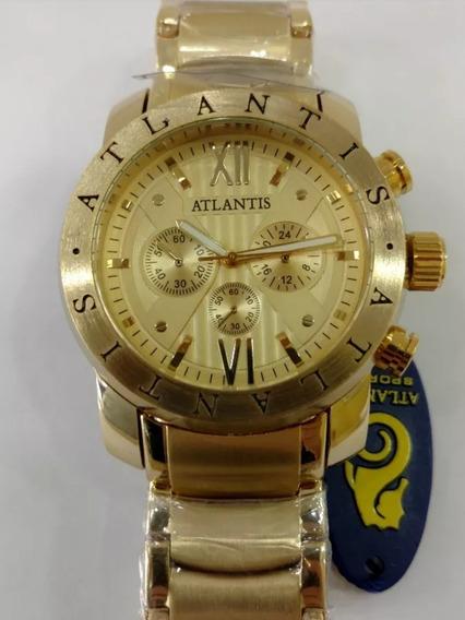 Relógio Masculino Atlantis Original Dourado Grande Social