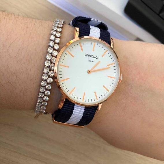 Relógio Rosé Gold Unissex Inspirado Chronos Pulseira Nylon