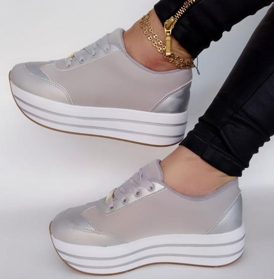 Zapato Tenis Deportivo Dama Color Plateado Moda Elegancia