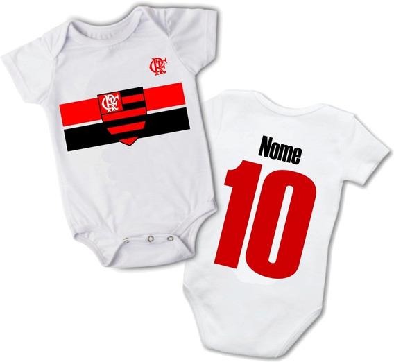 Body Infantil Bebê Time Flamengo Personalizado Nome Promoção