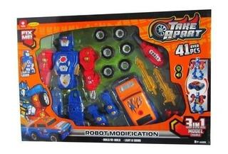 Robot 3en1 Transformer Con Herramientas 43 Pzs Mi Cielo Azul