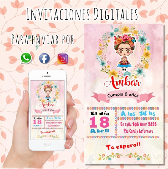 Invitaciones Digitales Personalizadas Mini Frida Coronita