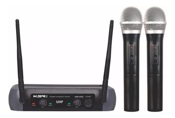 Microfone Sem Fio Duplo Ksr Uhf Mão Camera Tipo Karsect Lyco