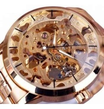 Reloj Skeleton Mecanico Extencible Metal - Oro - Bluelans